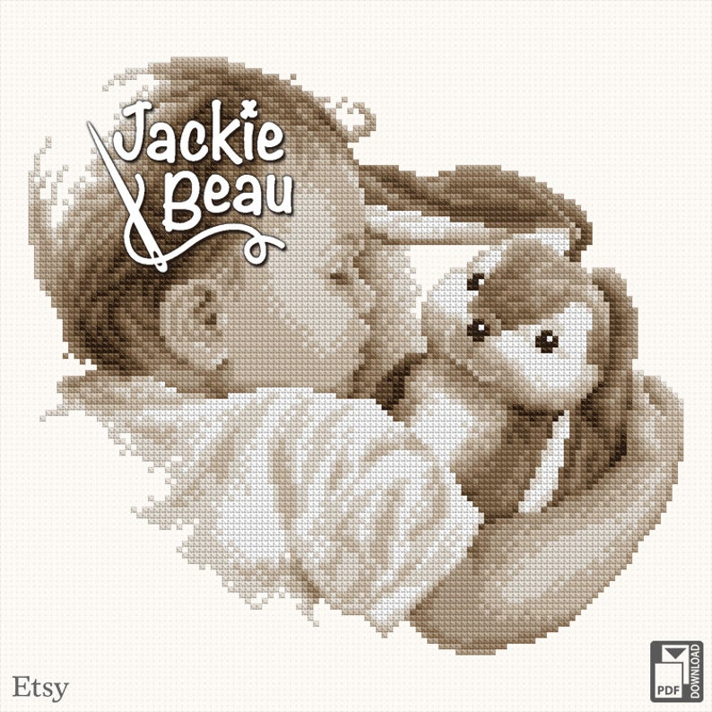 Cross stitch pattern Sleeping with hug by Jackie image 0