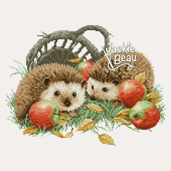 "Cross-stitch pattern ""Hedgehogs with apples"""