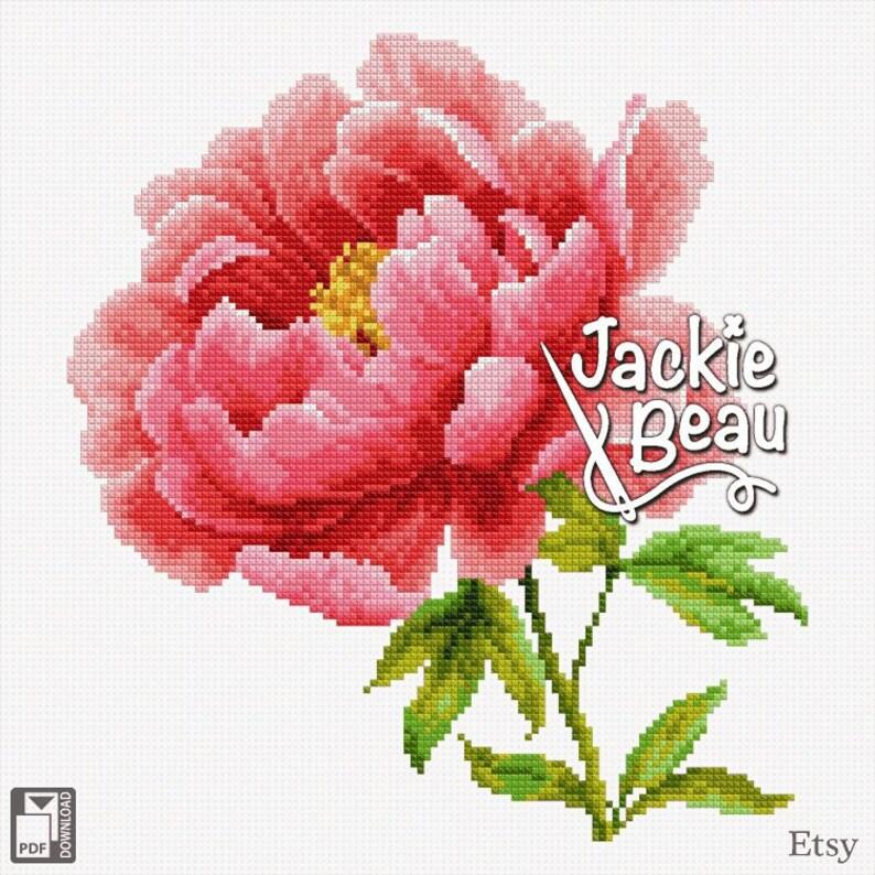 Cross-stitch pattern Pink peony by Jackie Beau  image 0