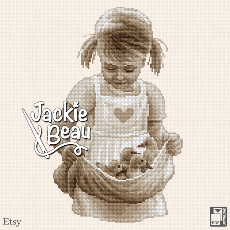 Cross-stitch pattern Girl with chicks by Jackie image 0
