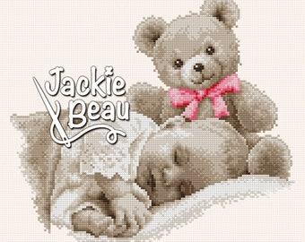 Cross stitch pattern - Baby with teddy - by Jackie Beau - pdf download © Beau2stitch cross-stitch