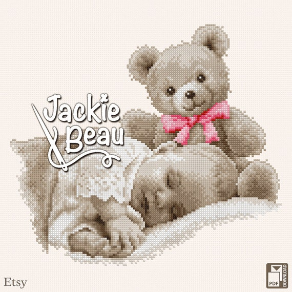 "Cross stitch pattern ""Baby with teddy"" by Jackie Beau - pdf download"