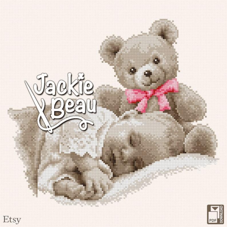 Cross stitch pattern Baby with teddy by Jackie image 0