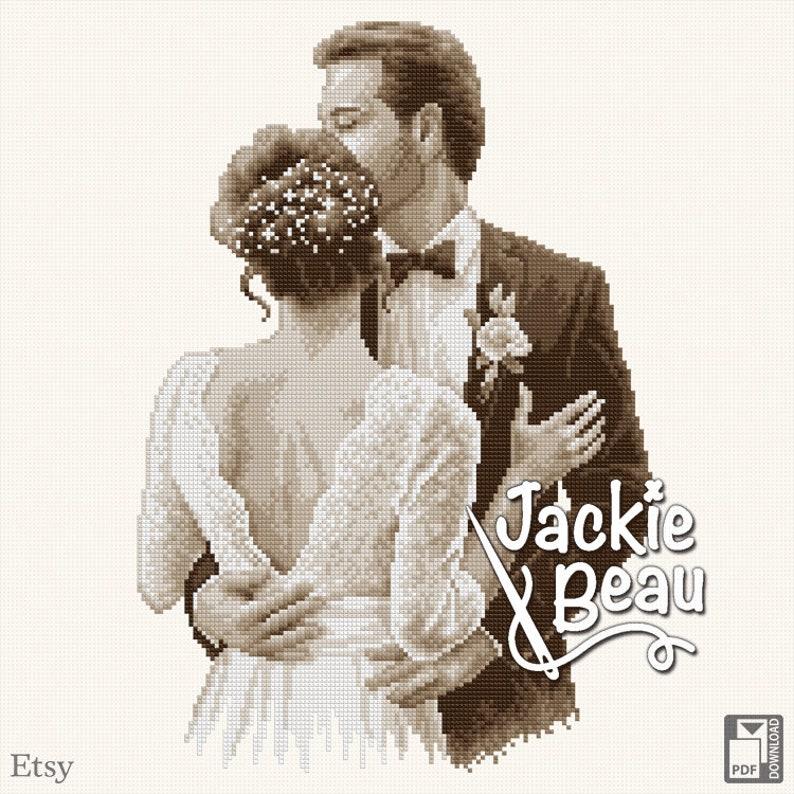 Cross-stitch pattern Wedding couple by Jackie Beau image 0
