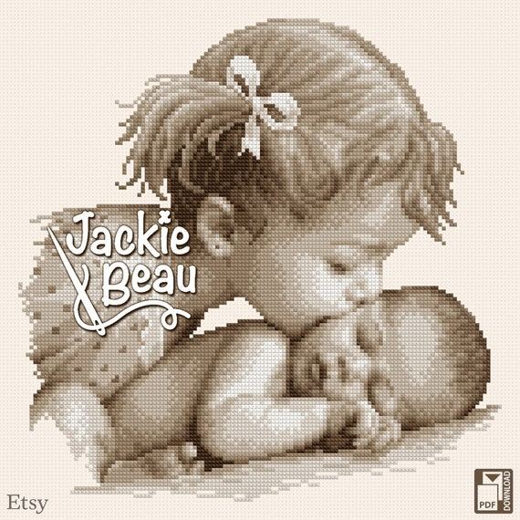 "Cross stitch pattern ""Big sister's kiss"" by Jackie Beau - pdf download"