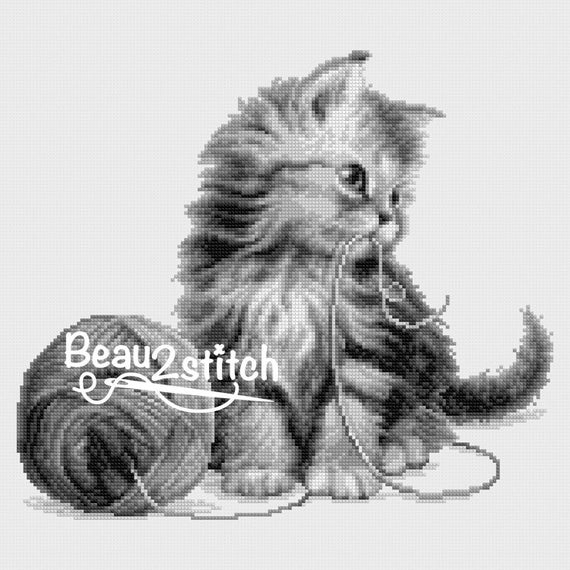 "Cross stitch pattern ""Kitten with yarn"" Sepia"