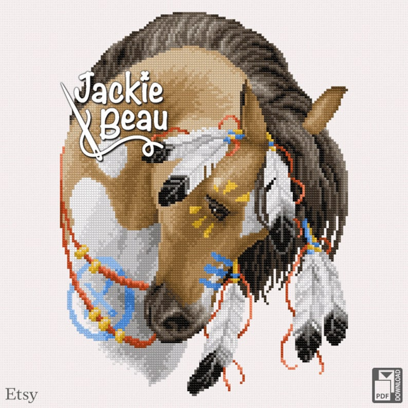Cross-stitch pattern Painted horse by Jackie Beau image 0