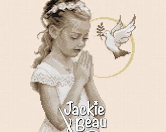 Cross-stitch Pattern - Communion Girl - by Jackie Beau - pdf download © Beau2stitch embroidery pattern