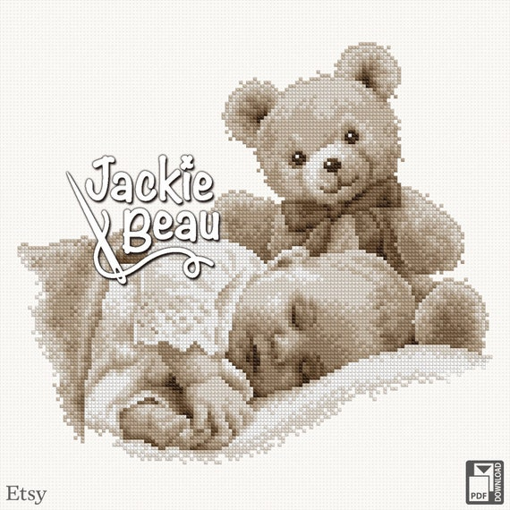 "Cross stitch pattern ""Baby with teddy"""