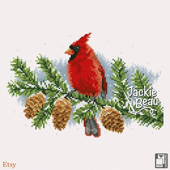 "Cross-stitch pattern ""Cardinal bird"""