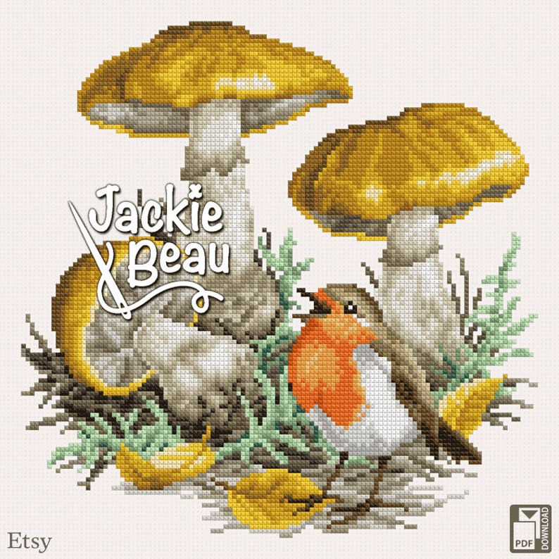 Cross-stitch pattern Robin in the fall by Jackie image 0