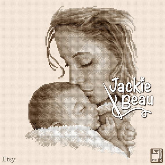 "Cross stitch pattern ""Mother and baby"" by Jackie Beau - pdf-download"