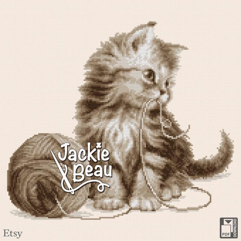 Cross-stitch pattern Kitten with yarn by Jackie image 0