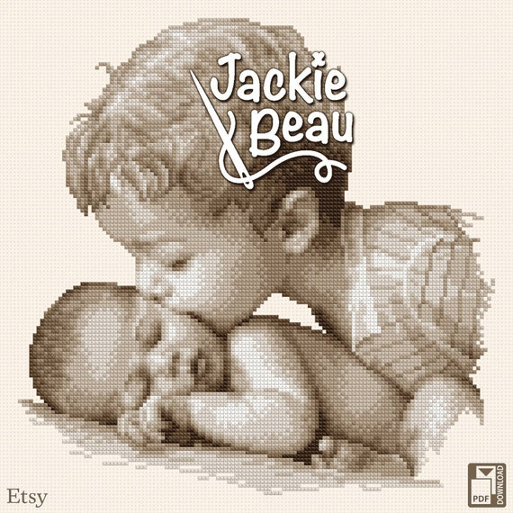 "Cross-stitch pattern ""Kiss from big brother"" by Jackie Beau - pdf download"