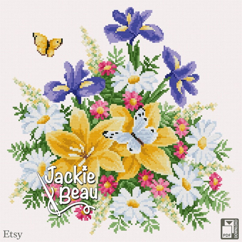 Cross-stitch pattern Flower bouquet by Jackie Beau image 0