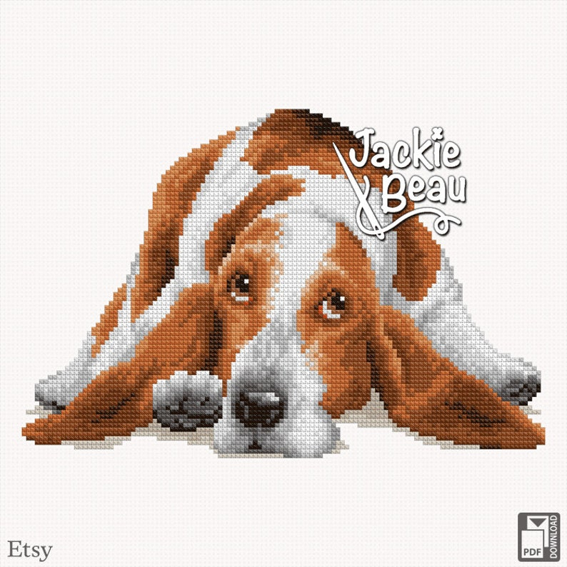 Cross-stitch pattern Basset hound by Jackie Beau  image 0