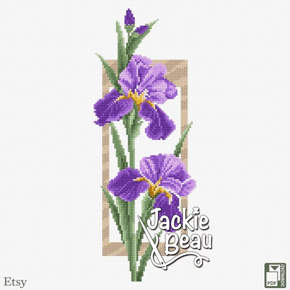 "Cross-stitch pattern ""Irises"" Jackie Beau"