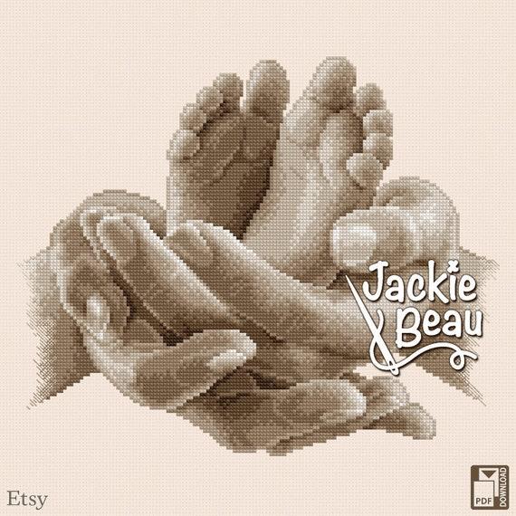 """Cross-stitch pattern """"Two little feet"""" by Jackie Beau - pdf-download"""