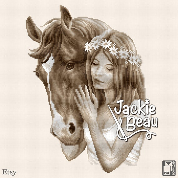 "Cross-stitch pattern ""Girl with horse"" by Jackie Beau - pdf download"