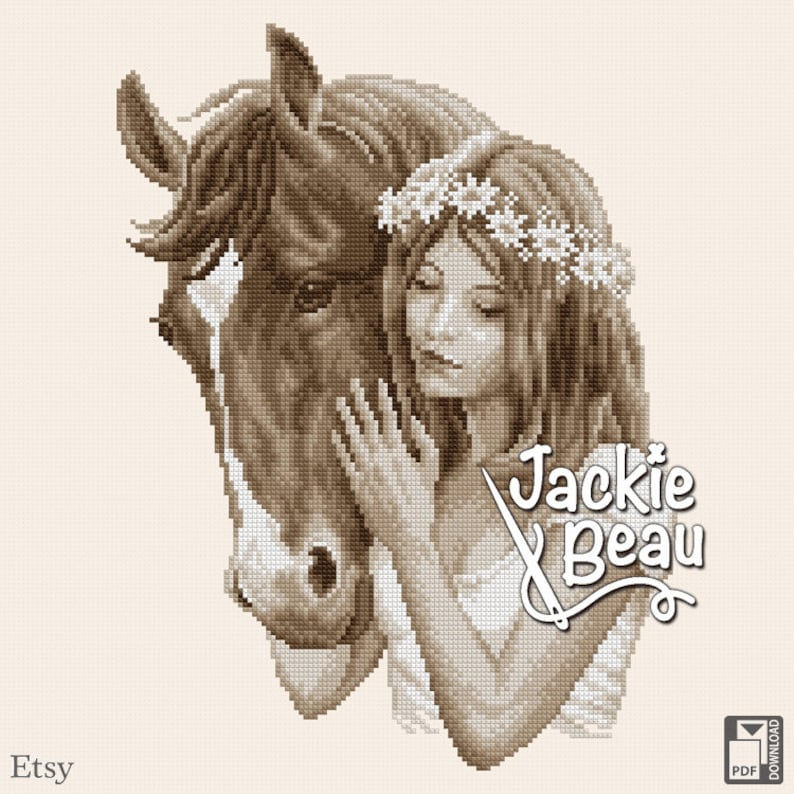 Cross-stitch pattern Girl with horse by Jackie image 0