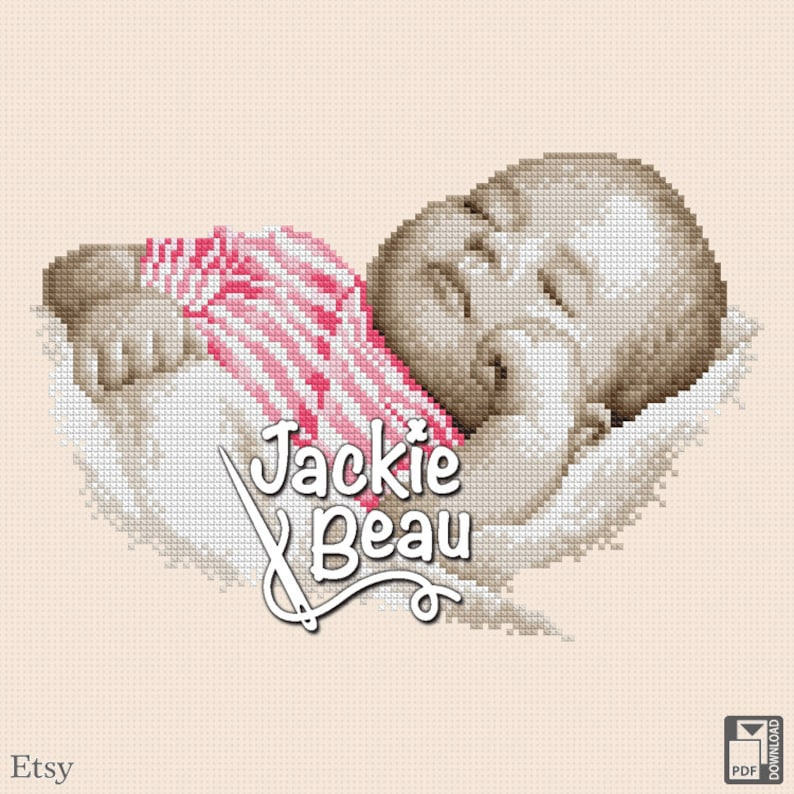 Cross stitch pattern Baby is sleeping by Jackie image 0