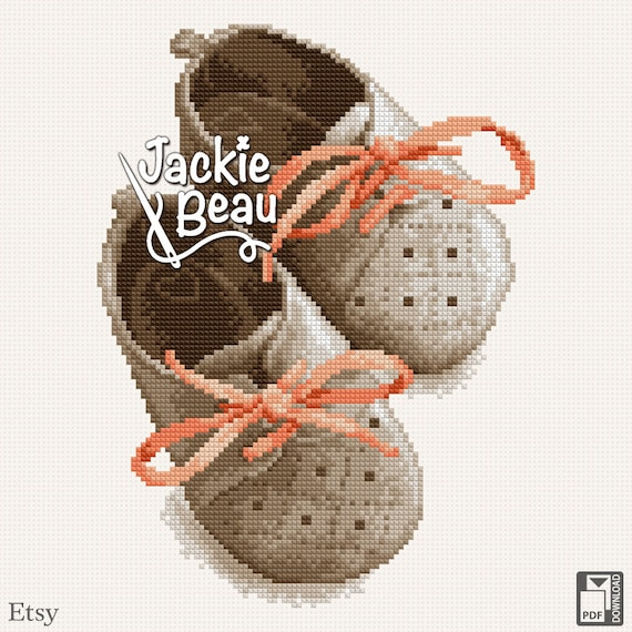 "Cross-stitch pattern ""Little shoes"" by Jackie Beau - PDF download = Free shipment"