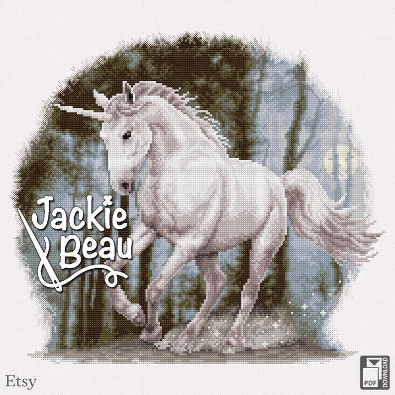 Cross-stitch pattern Unicorn by Jackie Beau  pdf image 0