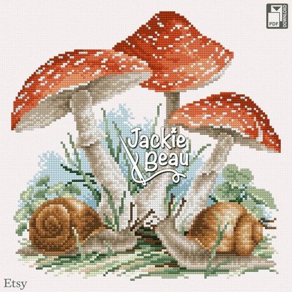 "Cross-stitch pattern ""Mushrooms and snails"" by Jackie Beau - pdf download"