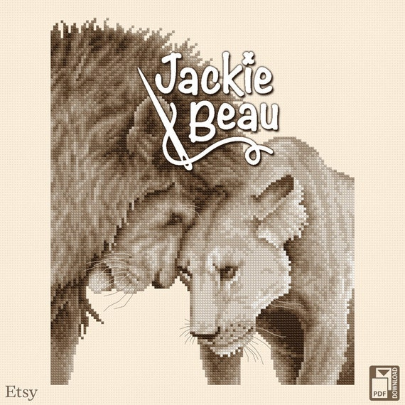 "Cross-stitch pattern ""Lions"" by Jackie Beau - pdf download"