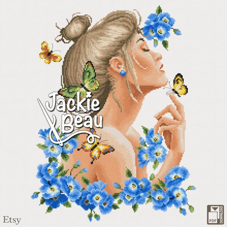 Cross-stitch pattern Blue flowers nymph by Jackie image 0