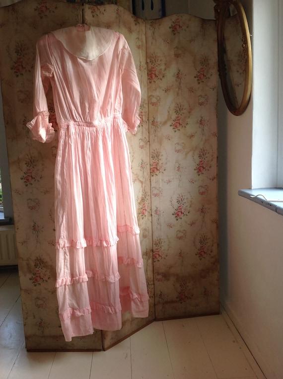 pink dress, edwardian , muslin cotton day dress 1… - image 10