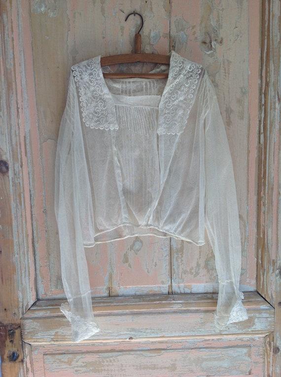 antique tulle lace blouse edwardian 1920s