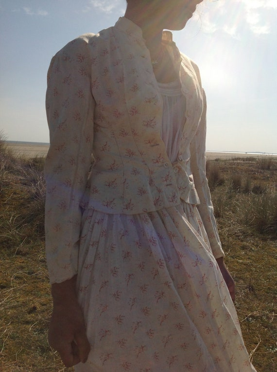 antique victorian cotton print calico day dress 2… - image 2