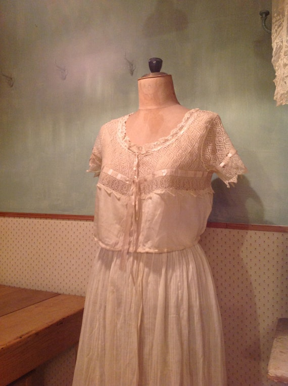 beautiful antique edwardian silk and lace camisole