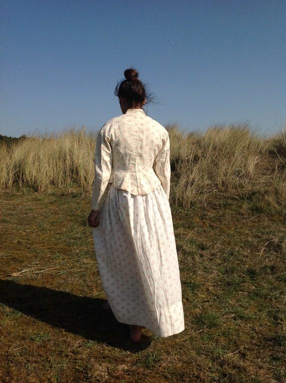 antique victorian cotton print calico day dress 2… - image 7