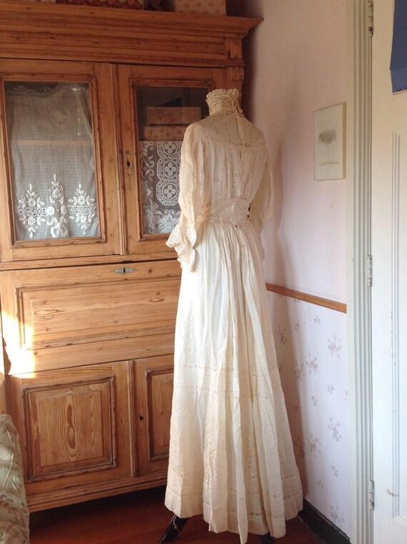amazing antique victorian wedding dress 1890s 4PC
