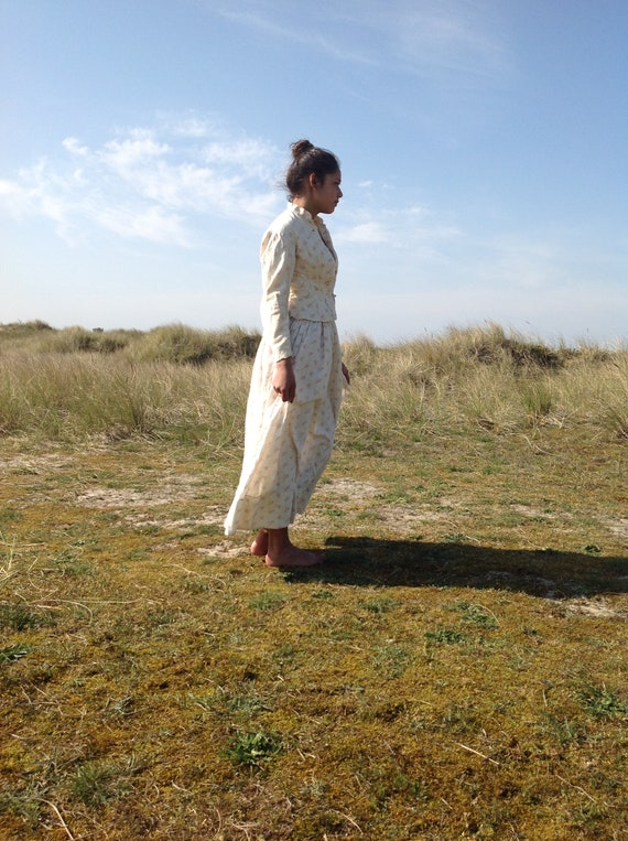 antique victorian cotton print calico day dress 2… - image 4