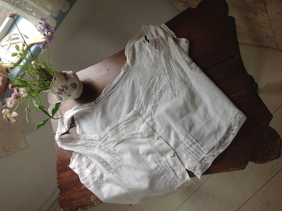 antique sheer cotton and lace camisole LARGE - image 6