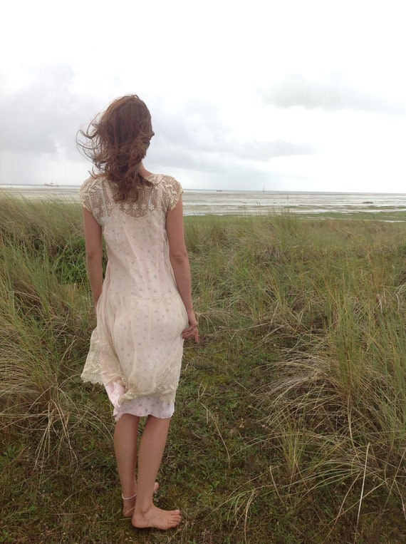 vintage floral slip dress, underdress night gown M