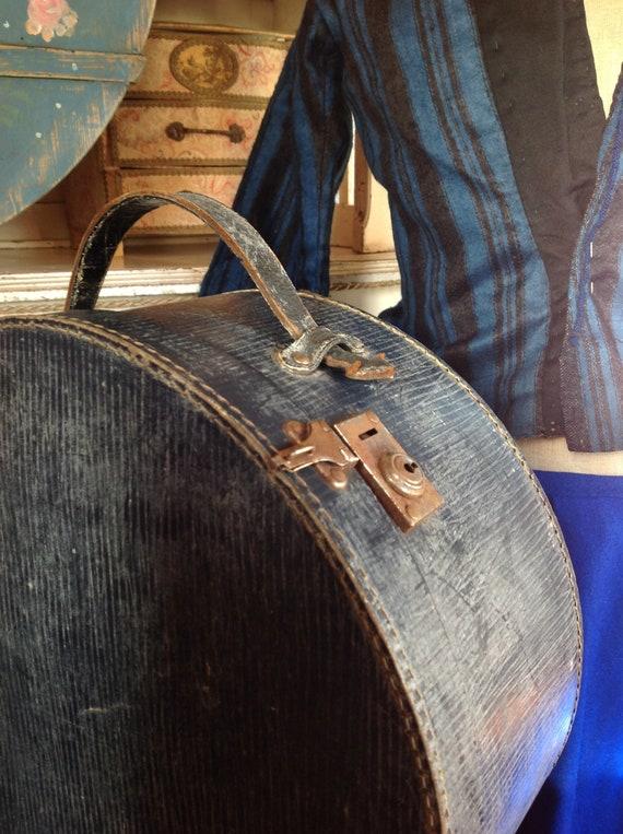 blue hat box, hat suitcase,