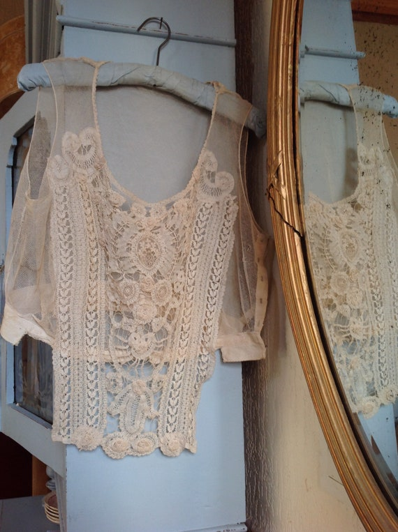 antique tulle lace camisole, corset cover, dicky e