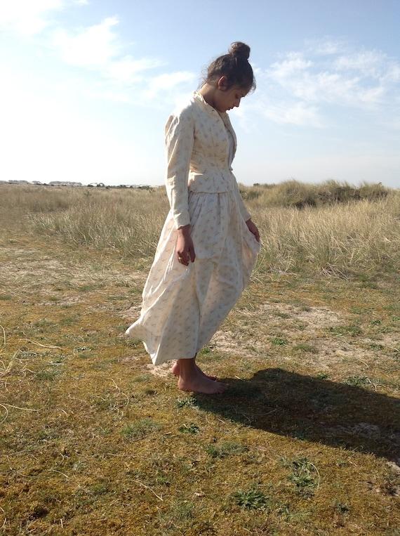 antique victorian cotton print calico day dress 2… - image 5