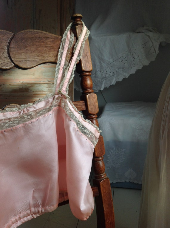 choral pink camisole silk and lace edwardian 1920… - image 8