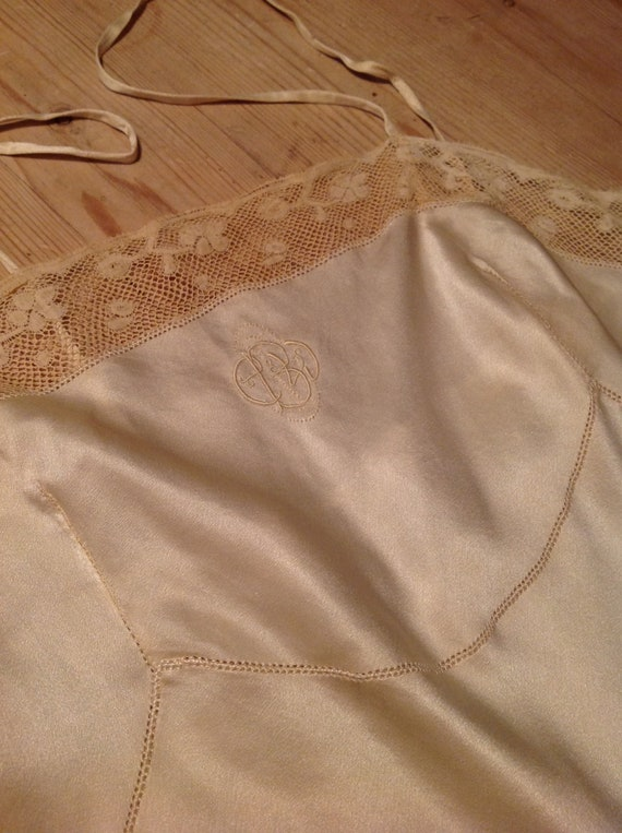 1900s antique silk and lace slip dress - image 2