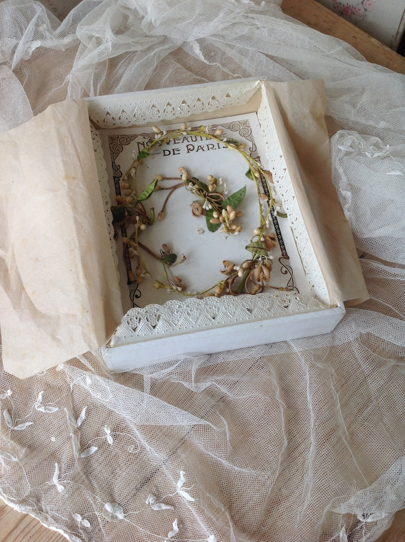 antique wax flower bridal crown with two corsages