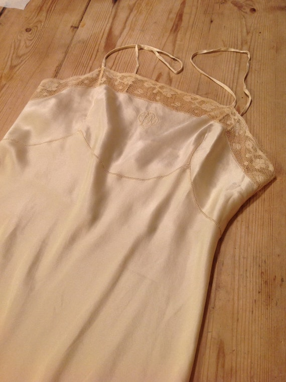 1900s antique silk and lace slip dress