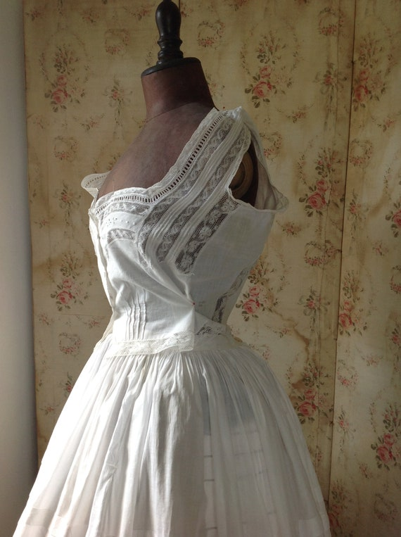 antique sheer cotton and lace camisole LARGE - image 5