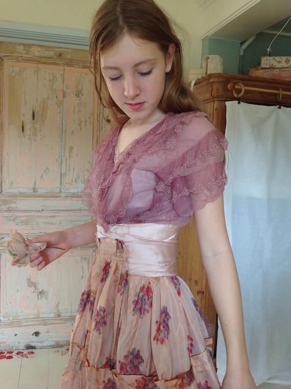 silk tulle lace floral concert dress, victorian, e