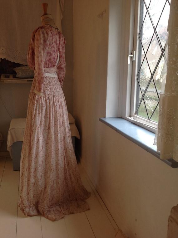 victorian skirt, cotton print skirt 1860s style re