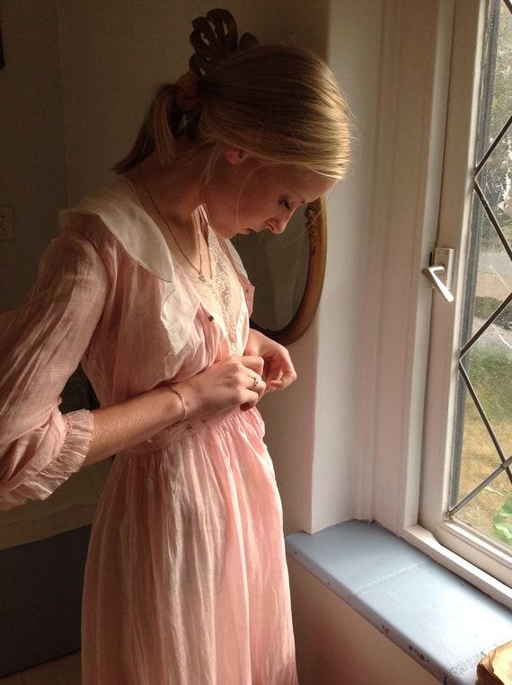 pink dress, edwardian , muslin cotton day dress 1… - image 2
